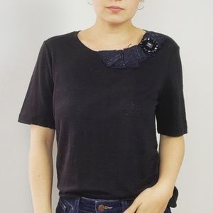 NWT Tory Burch Black Linen Tweed Embellished Top